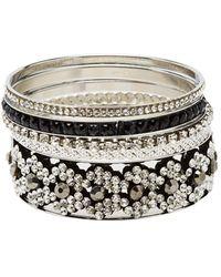 Charlotte Russe - Embellished Stackable Bangle Bracelet - 5 Pack - Lyst