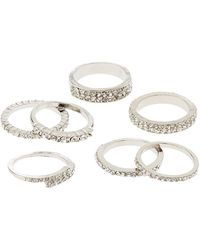 Charlotte Russe - Crystal Stacking Rings - 7 Pack - Lyst