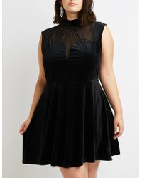 797d9f98b549b Charlotte Russe - Plus Size Mesh   Crushed Velvet Skater Dress - Lyst