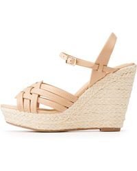 76a20a5e735 Lyst - Charlotte Russe Braided Espadrille Wedge Sandals in Black