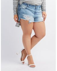 8decca90dc Charlotte Russe - Plus Size Refuge Destroyed Lace-up Cheeky Shorts - Lyst