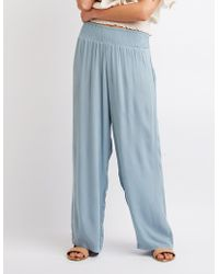 e8dc1974ccc30 Lyst - Charlotte Russe Plus Size Smocked Beach Pants