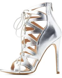 06e94fcf1850 Charlotte Russe - Metallic Caged Lace-up Dress Sandals - Lyst