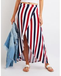 Charlotte Russe - Striped Wrap Maxi Skirt - Lyst