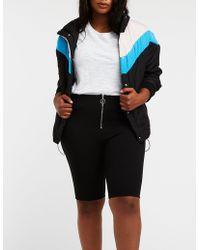 Charlotte Russe - Plus Size O Ring Zipper Bike Shorts - Lyst
