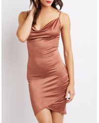 780276f5bc5 Lyst - Charlotte Russe Asymmetrical Bodycon Wrap Dress in Red