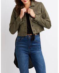 Charlotte Russe - Refuge Frayed Hem Cropped Jacket - Lyst
