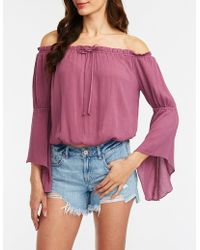 1d8939c13f9e70 Lyst - Charlotte Russe Off-the-shoulder Bell Sleeve Top in Purple