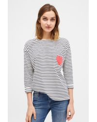 Chinti & Parker - Cream With Navy Striped Breton Heart T-shirt - Lyst