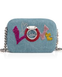 Christian Louboutin - Rubylou Mini Blue And Multicolour Denim Canvas And Sequins - Lyst
