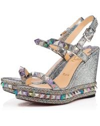 Christian Louboutin - Pyraclou Nappa Mica 110 Version argent Cuir Nappa Mica - Lyst