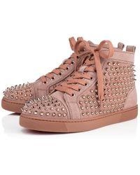 Christian Louboutin - Louis Woman Veau Velours/spikes Antic/pink Bronze Veau Velours - Lyst