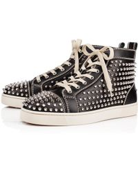 351b6fd1472 Christian Louboutin Louis Calf Spike High Top Trainers in Black for ...