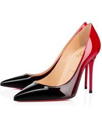 Christian Louboutin - Decollete 554 Patent Degrade 100 Black-red Patent Calfskin - Lyst