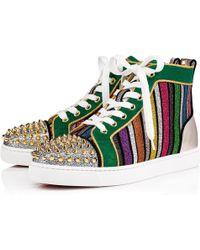 aee7fdb6bc1c Lyst - Christian Louboutin Louis Orlato Flat Python Sneakers in Metallic