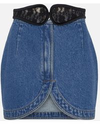 Christopher Kane - Lace Crotch Denim Mini Skirt - Lyst