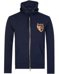 Balmain - Paris Coats Badge Hooded Sweatshirt Navy - Lyst