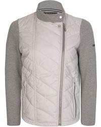 Barbour - International Women's Dunnet Quilted Front Zip Sweatshirt Grey - Lyst