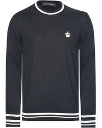 Dolce & Gabbana - Contrast Trim Knitted Jumper Black - Lyst