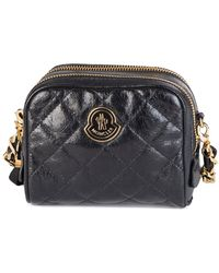 Moncler - Luisa Leather Crossbody Double Zip Bag Black - Lyst