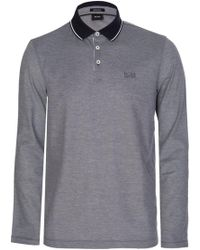 94a98aaa BOSS Striped Long-sleeved Polo Shirt In Cotton: 'pearl 01' in Black ...