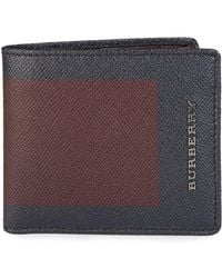 Burberry - Billfold Leather Wallet Burgundy/navy - Lyst