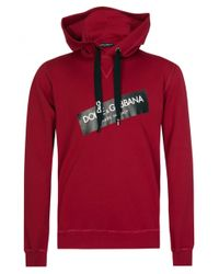 Dolce & Gabbana - Tape Logo Hooded Sweatshirt Red - Lyst