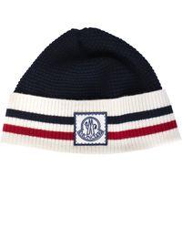 Moncler - Gamme Bleu Contrast Trim Beanie Hat - Lyst