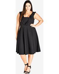 City Chic - Black Flirty Flutter Dress - Lyst