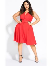 8b048d62bcb4 Lyst - City Chic Navy Vintage Veronica Fit   Flare Dress in Blue ...