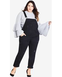 City Chic - Over It All Overalls - Black - Lyst