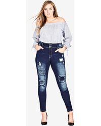 d0861c38d26 Lyst - Ashley Stewart Patched Cuff Skinny Jean in Blue