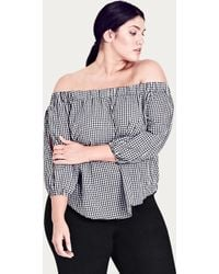 City Chic - Gingham Off Shoulder Top - Lyst