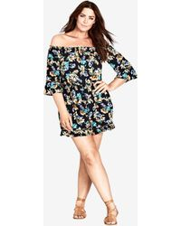 City Chic - Floral Vibe Playsuit - Lyst