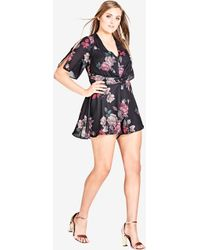 City Chic - Floral Fling Playsuit - Lyst
