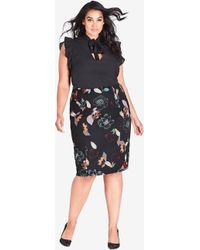 City Chic - Sketch Floral Skirt - Lyst
