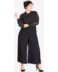 City Chic - Trendy Plus Size Wide-Legged Cropped Pants - Lyst