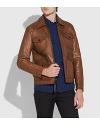 COACH - Burnished Leather Four Pocket Jacket - Lyst