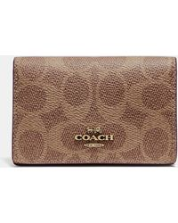 dd39ee1c67a0 COACH Card Case With Tattoo in Brown - Lyst
