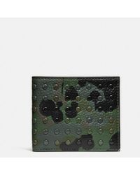 COACH - Double Billfold Wallet With Wild Beast Print And Studs - Lyst