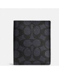 COACH - Slim Coin Wallet In Signature Coated Canvas - Lyst