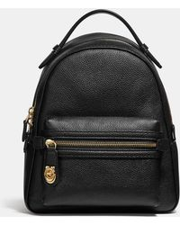 COACH - Campus 23 Pebbled Black Leather Backpack - Lyst