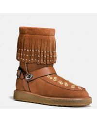 COACH - Roccasin Shearling Boot With Beads - Lyst