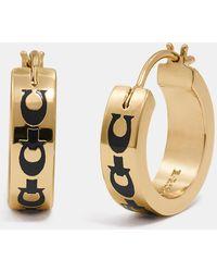 COACH - Signature Chain Huggie Earrings - Lyst