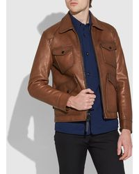 3789682555a COACH - Burnished Leather Four Pocket Jacket - Lyst