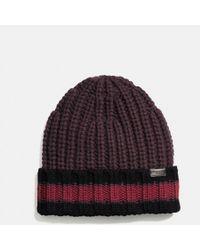 COACH - Varsity Stripe Knit Beanie - Lyst