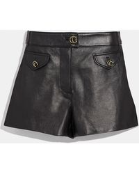 COACH - Leather Shorts - Lyst