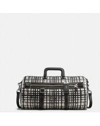 COACH - Flag Gym Bag In Wild Plaid Print Leather - Lyst