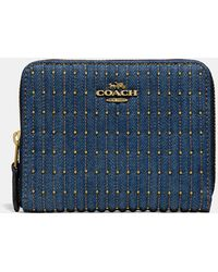 db97f9c71a03 COACH - Small Zip Around Wallet With Quilting And Rivets - Lyst