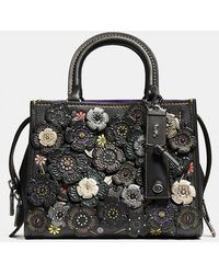 COACH - Rogue 25 In Natural Pebble Leather With Tooled Tea Rose - Lyst